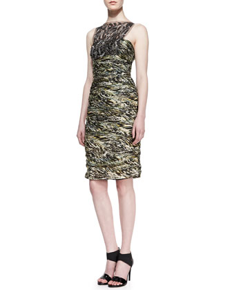 Sleeveless Lace Overlay Cocktail Dress, Moss