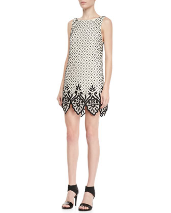 Dot Embellished Shift Dress