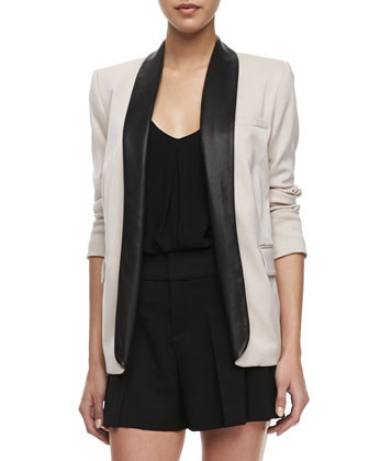Two-Tone Leather-Collar Blazer, Guenda Leather-Strap Tank & High-Waist Butterfly Shorts