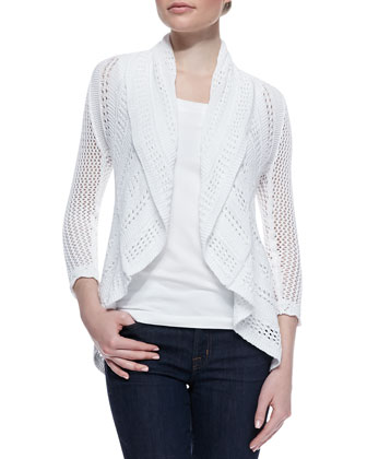 Pointelle Knit Draped Cardigan