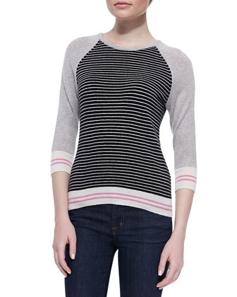 Cashmere Striped Back-Zip Sweater