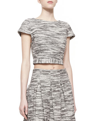 Elenore Short-Sleeve Tweed Crop Top & Davis Pleated Tweed Skirt