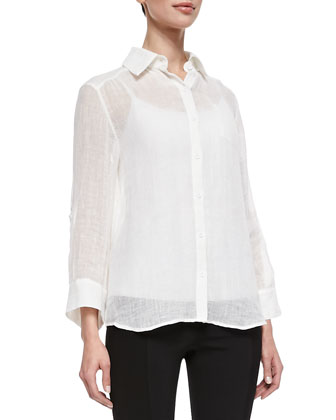 Piper See-Through Blouse & Seamed-Detail Combo Leggings