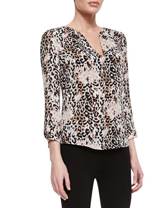 Pearline Silk Leopard-Print Blouse