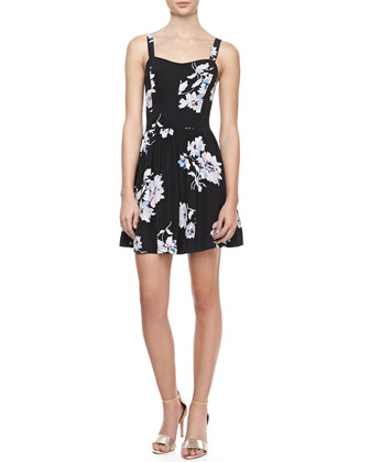 Latelle Sleeveless Floral-Print Silk Dress