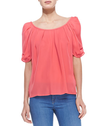 Eleanor Gathered Half-Sleeve Blouse