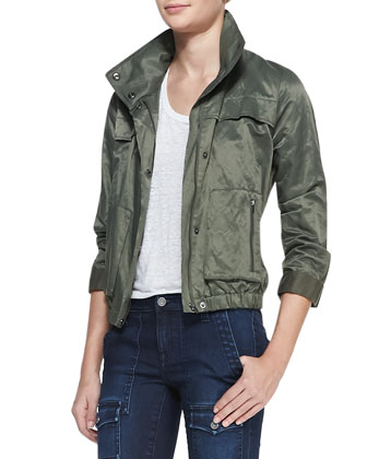 Ferrell Shiny Army Jacket, Ashlee Slub Tee & So Real Flap-Pocket Skinny Jeans