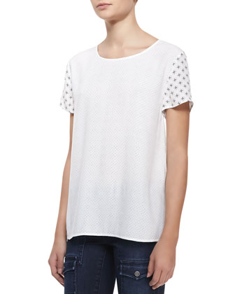Hanneli Perforated Short-Sleeve Top