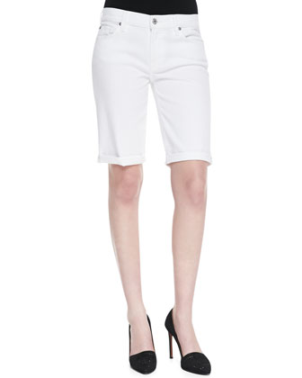 Cuffed Bermuda Shorts, Clean White