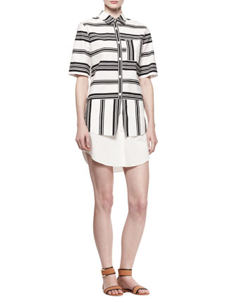 Layered Striped Poplin Shirtdress