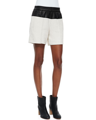 Cliffe Leather-Top Shorts