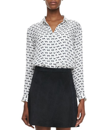 Aquilina B Arrow-Print Blouse & Lonati Perforated Leather Skirt