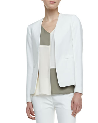 Isita Open-Front Blazer, Talda C Colorblock Blouse & Benetta Ankle-Cropped Pants