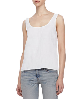 Simple Sleeveless Linen Tank