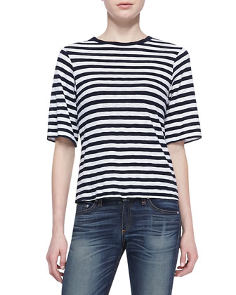 Carey Striped Half-Sleeve Tee