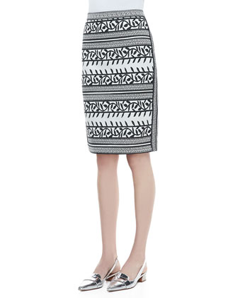 Laurie Printed Pencil Skirt, New Ivory/Navy