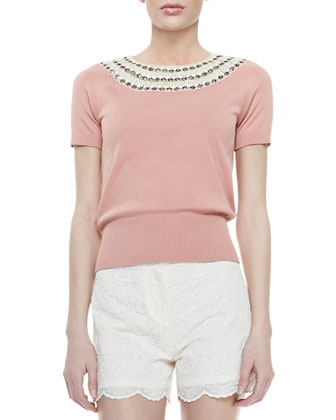 Daisy Embellished-Neck Sweater, Nectar