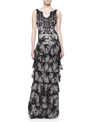 Powell Sleeveless Tiered Lace Gown