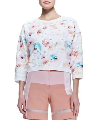 Poppy-Print Cropped Sweatshirt & Patchwork Sheer-Strip Shorts