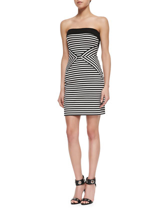 Striped Strapless Cotton Dress