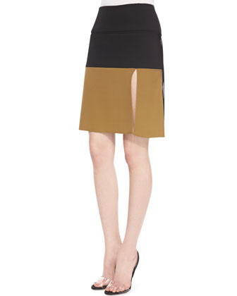 Yoked Asymmetric Slit Skirt, Black/Petrol