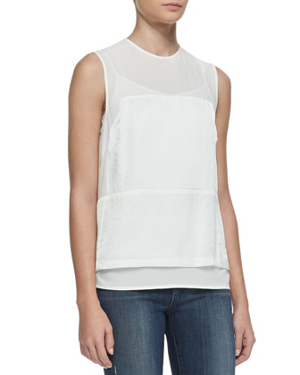 Boylan Sheer-Yoke Top