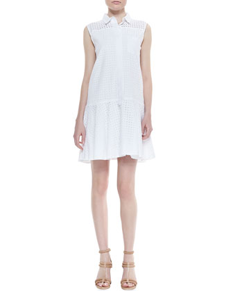Drop-Waist Eyelet Shirtdress