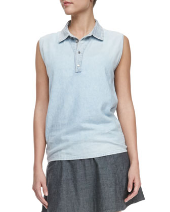 Bennie Sleeveless Cotton Polo Top