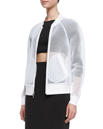 Sheer Mesh Bomber Jacket
