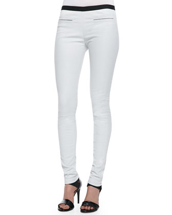 Contrast Leather Leggings, White/Black