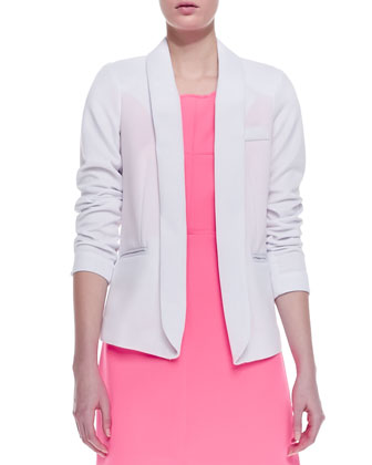 Open-Front Knit Blazer & Neon Outside-Seam Dress