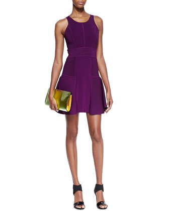 Knit Fit-&-Flare Dress, Plum