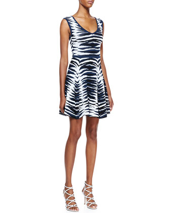 Ikat-Jacquard Flared Dress