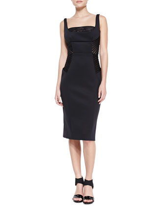 Mesh-Inset Fitted Sheath Dress