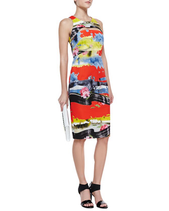 Tropical Cutout Full-Zip Dress