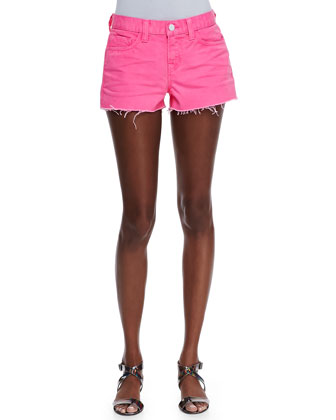 Low-Rise Cutoff Shorts, Signal Pink