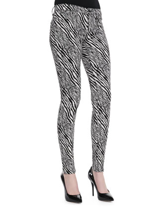 Midrise Super Skinny Pants, Abstract Zebra