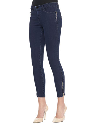Tali Cropped Zip Jeans, Blue Depth