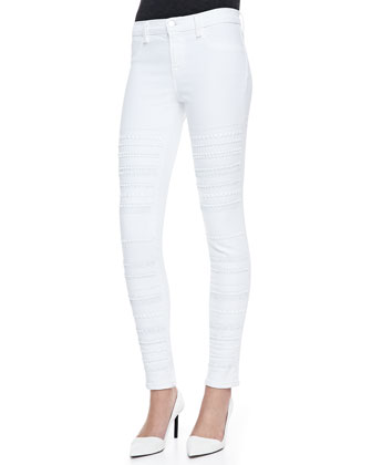 Genevieve Super Skinny Studded Jeans, Blanc