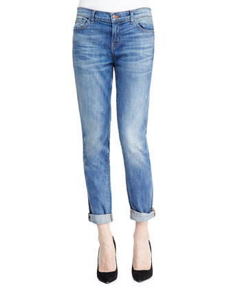 Jake Slim Boy Cut Cherish Faded Distressed Cuffed Jeans
