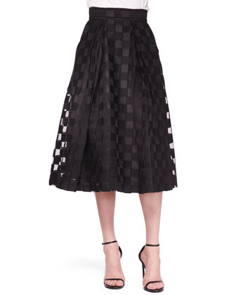 Sheer-Block Full Midi Skirt