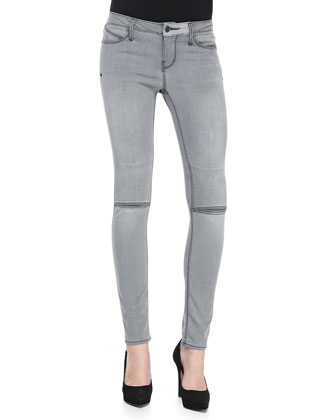 Slit-Knee Skinny Denim Jeans