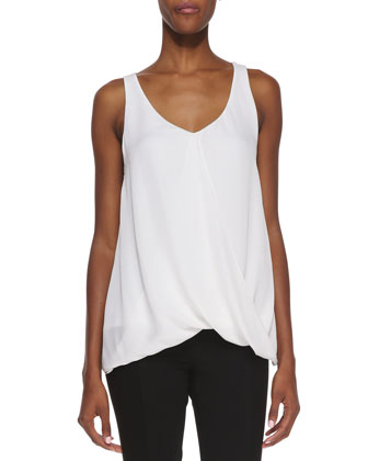 Overlap Silk Tank Top