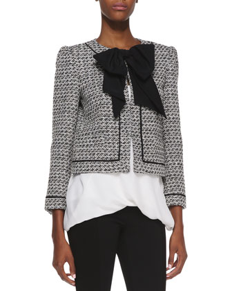 Tweed Bow-Detail Jacket, Overlap Silk Tank Top & Seamed-Detail Combo Leggings