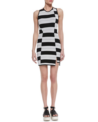 Staggered Stripe Dress, Black/White