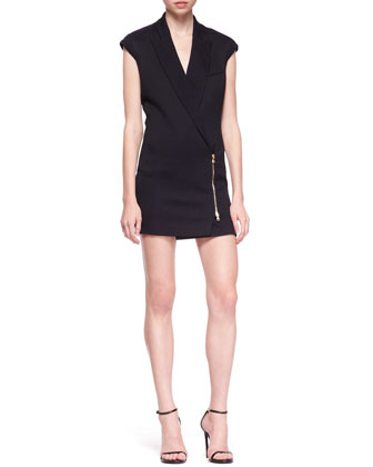 Zip-Front Blazer Dress, Midnight