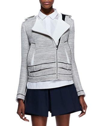 Honeycomb Moto Jacket with Trim, Light Beige