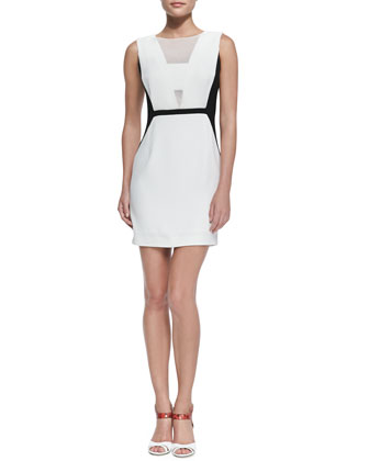 Two-Tone Mesh-Overlay Dress