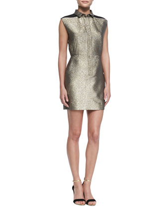 Sleeveless Metallic Shirtdress