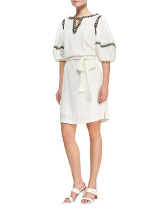 Puff-Sleeve Shirtdress with Faux-Leather Trim